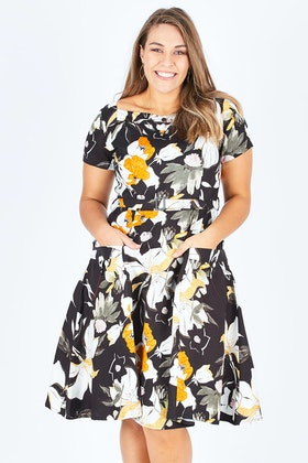 Elise Bee Black And Cream Floral Dress