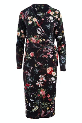 Belle bird Belle Black Floral Wrap Dress