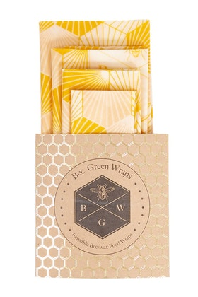 BeeGreen Wraps Organic Cotton Four Starter Beeswax Wraps Pack