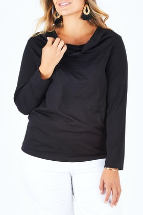 Merino Essentials Merino Wool Knit Cowl Neck Top