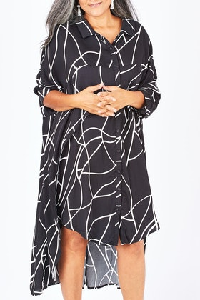 PQ Collection Cascade Shirt Dress