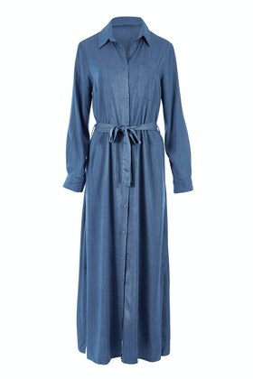 Belle bird Belle Chambray Maxi Shirt Dress