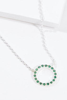 Jolie & Deen Crystal Circle Necklace Green