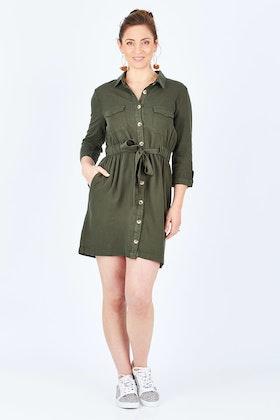 922ef3dfcce Sass Seeker Belted Shirt Dress