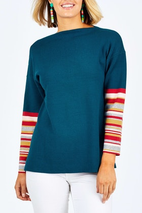 handpicked by birds Striped Sleeve Sweater
