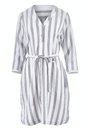 Jump 3/4 Sleeve Tie Waist Stripe Dress