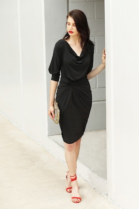 Sacha Drake Cowl Tie Drape Dress