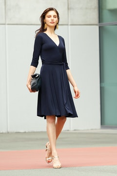Reverse Wrap Full Skirt Dress