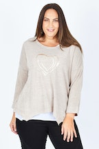 Threadz Sequin Heart Layered Top