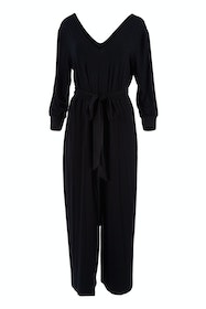 Belle 7/8 Sleeve Knit Jumpsuit With Self Belt
