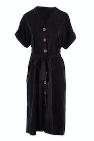 Belle Black Extended Shoulder Dress