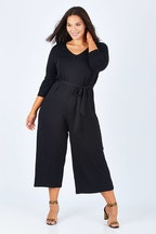 Belle bird Belle 7/8 Sleeve Knit Jumpsuit With Self Belt
