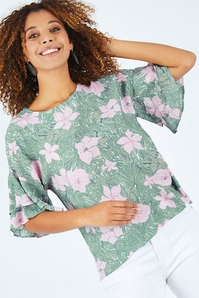 Threadz Summer Flowers Print Top