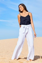 Natural for birds Linen Long Line Pants