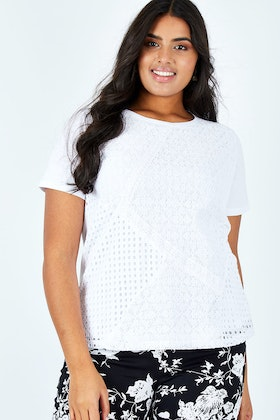 Clarity By Threadz Spliced Lace Panel Tee