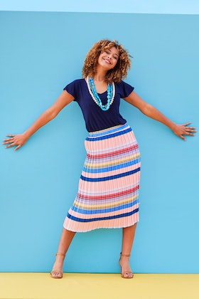 handpicked by birds Pleated Stripe Skirt