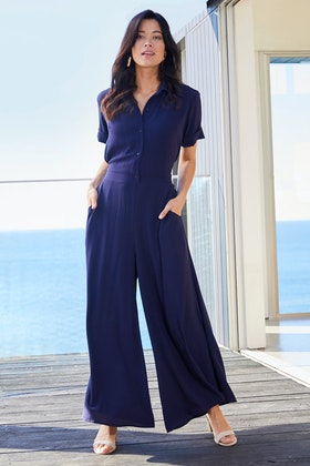 bird by design The Collared Wide Leg Jumpsuit