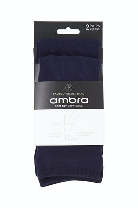 Ambra Bamboo Blend Soft Top Crew Socks 2 Pack