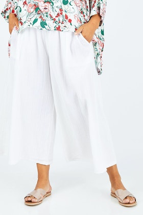 boho bird Sun Drenched Cotton Wide Leg Pants