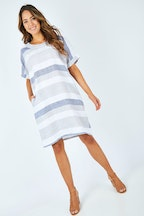 See Saw Elbow Sleeve Button Back Shift Dress