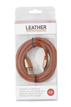 IS Gifts PU Leather 2M iPhone Charging Cable