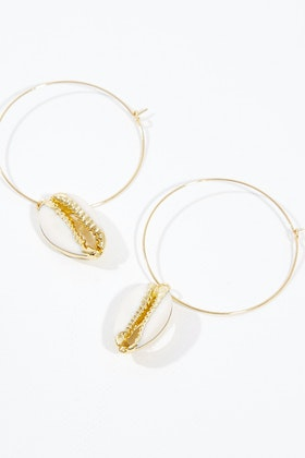 Isle & Tribe Oceania Shell Hoop Earrings