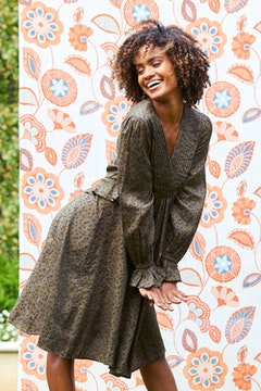 Layered Waist Long Sleeve Dress