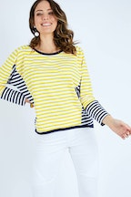 handpicked by birds Long Sleeve Contrast Stripe Top