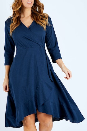 bird keepers The 3/4 Sleeve Faux Wrap Dress