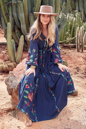 boho bird Charmed By You Embroidered Maxi Dress