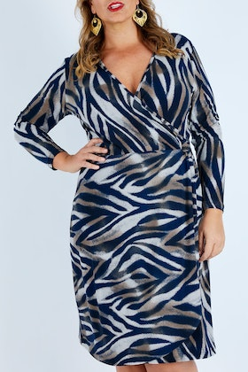 bird by design The Printed Faux Wrap Dress