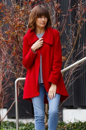See Saw Ribbed Collar Hi Lo Coat