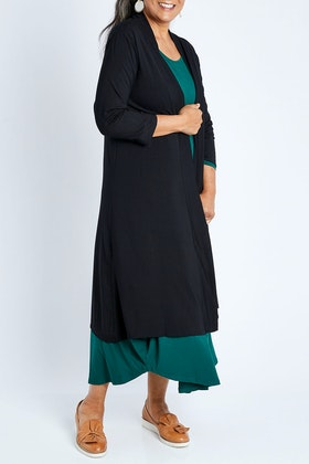 Whispers 3/4 Sleeve Long Line Bamboo Cardi