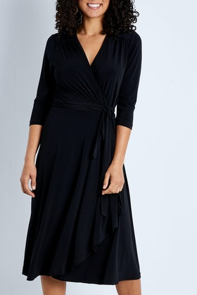 bird by design The Essential Faux Wrap Dress