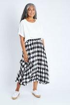 Clarity By Threadz Full Flowcheck Skirt