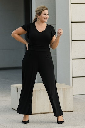 bird by design The Frill Sleeve Ruched Waist Jumpsuit