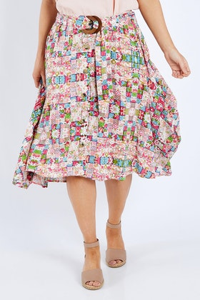 handpicked by birds Belted Button Skirt