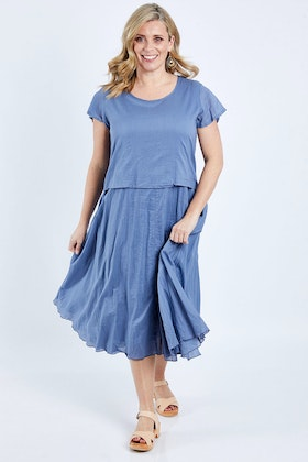 Portobello Cotton Crinkle Cap Sleeve Layer Dress