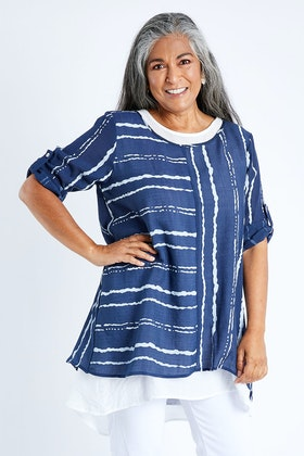 Clarity By Threadz Patterned Stripe 2 In 1 Top